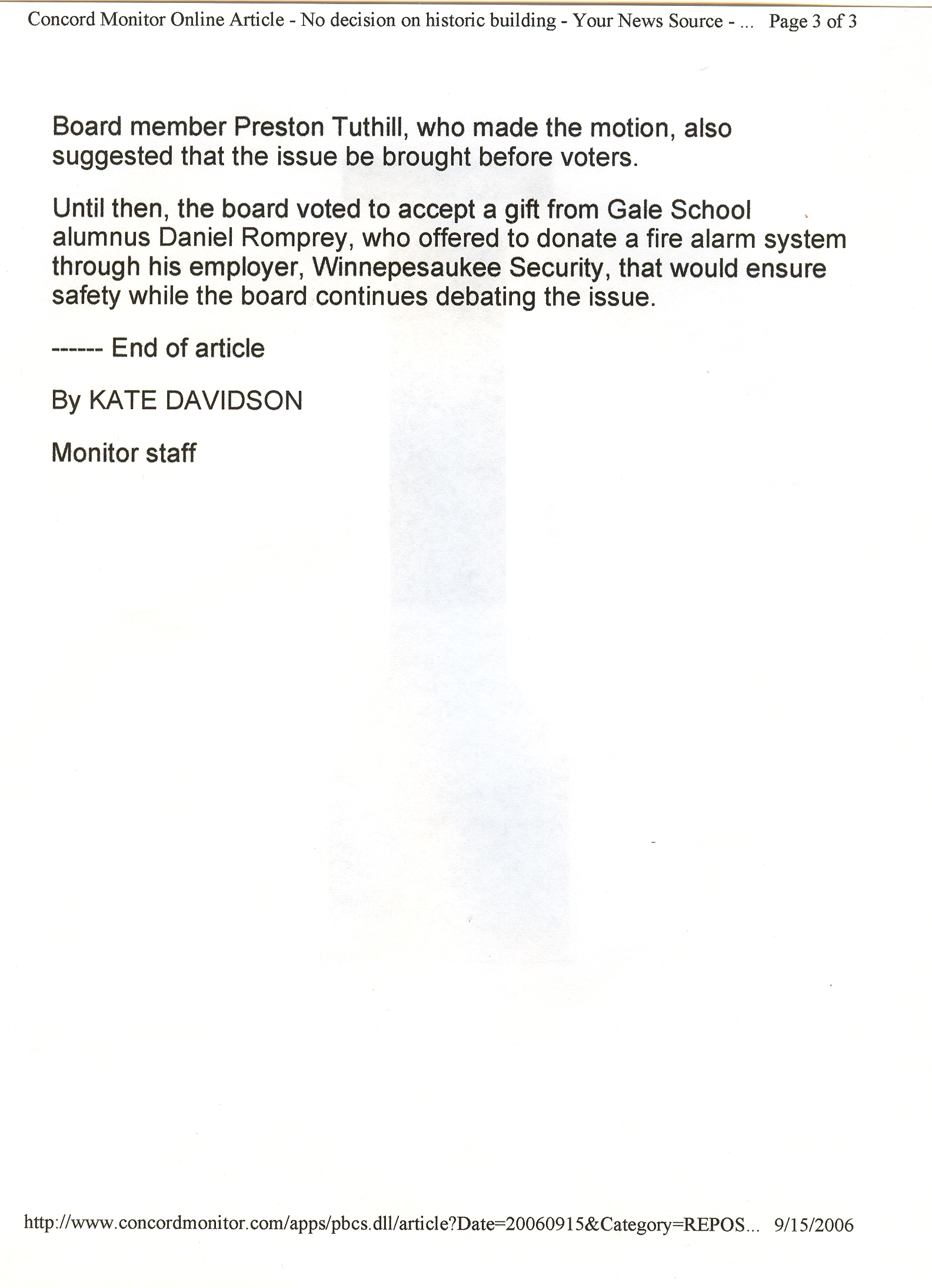 Concord Monitor September 15 2006 Gale School